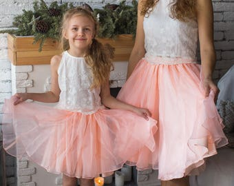 Baby Mommy Matching Skirt Top set, Mom and Me skirts, Knee length Tulle Skirt, Twinning, Mommy baby matching, Lace Crop Top