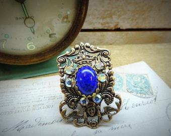 Coat of arms, lapis lazuli, steampunk, pirate ring