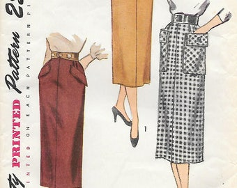 Waist 24 UNCUT-Simplicity 3330 1950s Pencil Skirt Vintage Sewing Pattern Wiggle Skirt Simple to Make