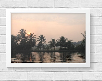 Palm Trees, Sunset in India, Photo Print, River Sunset
