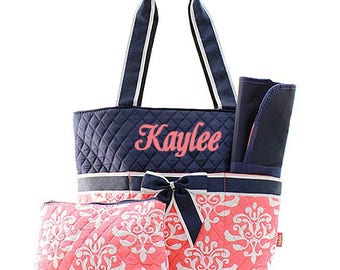 Personalized Diaper Bags With Name or Monogram Quilted Coral Damask Diaper Bag With Navy Top Damask Diaper Bag Monogrammed Diaper Bag Set