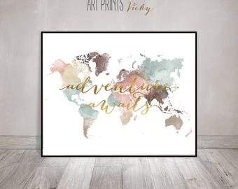 World map wall art etsy adventure awaits print world map poster large world map world map wall art gumiabroncs Images