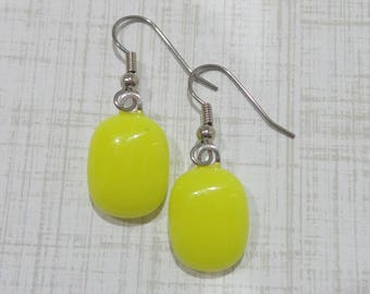 Yellow Earrings, Pierced Dangle Earrings, Hypoallergenic, Yellow Fused Glass Jewelry, Ear Jewelry, Ready to Ship - Pamela -7