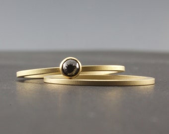 Black Diamond Gold Ring Set - Rose Cut Diamond Ring - Bezel Set in 18 Karat Yellow Gold with Matte Finish - Minimalist Engagement Ring Set