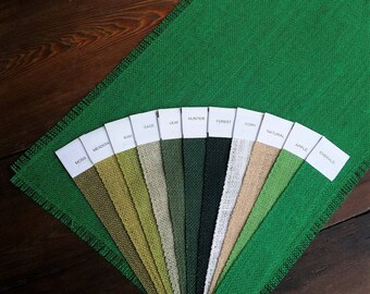 """WIDE 16"""" - 18"""" GREEN Burlap Runner with 1/2 inch Fringe - 10 Green Color Choices - Emerald Wedding Decor"""