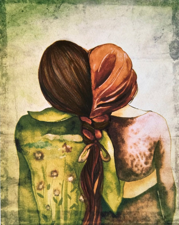 Art print sisters best friends  gift idea  with red and brown hair