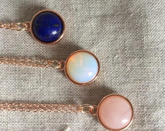 Rose Quartz, lapis, or opalite Rose Gold necklace, Rose Quartz necklace, Rose Gold, opalite necklace, lapis necklace, Bridal Jewelry,