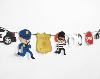 Cops And Robbers   Garland | Birthday Decorations | Boys Room Wall Decor |  Photo Prop