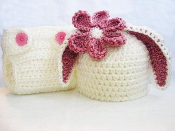 Crochet Pattern Bunny Ear Beanie Diaper Cover Rabbit Hat Photo