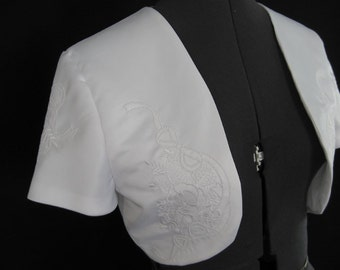 Bridal Bolero Embroidered White Satin