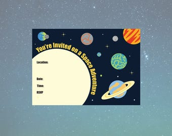 A6 Printable Space Voyage Invitation - Solar System Collection - 105x148mm -PDF INSTANT DOWNLOAD
