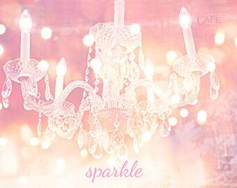 Chandelier Photography, Dreamy Sparkling Crystal Chandelier, Pink Crystal Chandelier, Paris Chandelier Wall Art, Baby Girl Nursery Decor Art