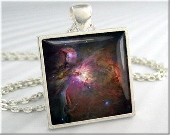 Nebula Picture Pendant, Hubble Telescope Image Charm, Square Resin Jewelry, Silver Pendant, Space Gift (531SS)