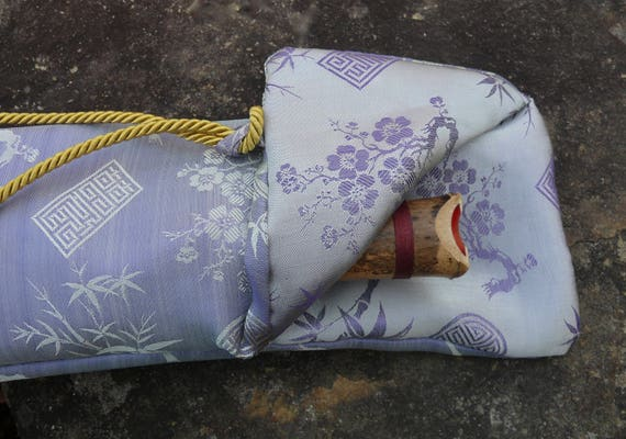 Silk Flute Bag, Padded & lined with a Vapor Barrier, Iridescent Wisteria/Mint color- for 19-22 inch flute- 1.8 shakuhachi flute bag