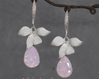 Pink Opal Wedding Earrings, Pink crystal earrings, Swarovski rhinestone earrings, Crystal drop earrings,  Pink bridesmaid earrings