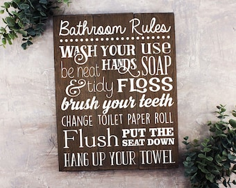 FREE SHIPPING Bathroom Rules Sign Bathroom Rules Sign Rustic Kids Bathroom Art Kids Bathroom Decor Rustic Bathroom Sign Bathroom Wall Art