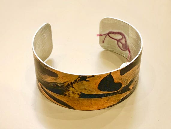 SJC10054 - Enamel painted aluminum cuff open bracelet with abstract design (orange, blue)