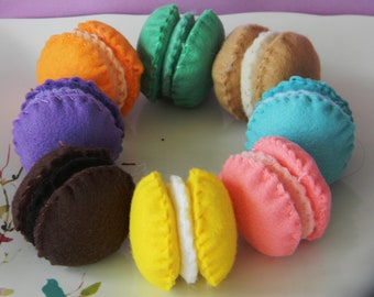 felt  Macaroon cookies childrens play food
