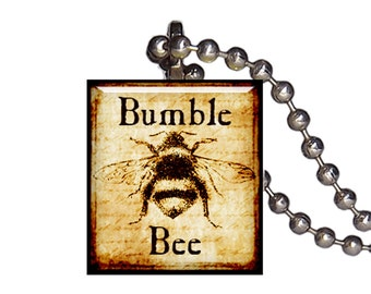 Vintage Bumble Bee Insect  - Reclaimed Scrabble Tile Pendant Necklace