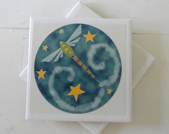 Celestial Dragonfly Drink Coasters-Set of 4