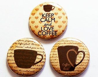 Coffee Lover Magnets, Magnet Trio, Coffee Magnet set, stocking stuffer, Gift for Coffee Lover, Coffee Drinker, Love Coffee, Brown (8689)