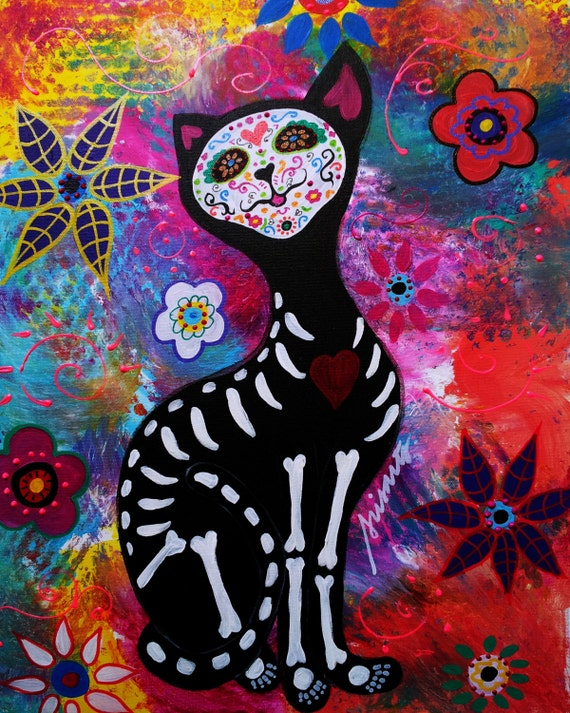 Mexican EL GATO Day Of The Dead Cat Kitty Dia De Los Muertos