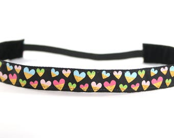 Hearts NonSlip Headband, Valentine's Day Accessory, Gift for Her, Activewear, Gold Foil Hearts, Yoga Accessory, Gift for Runners