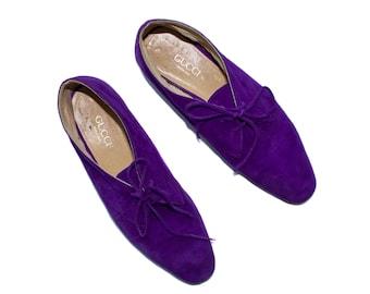 Women's Vintage Purple Suede Gucci Flats, Size 39.5 / 8.5 // Purple Jazz Flats // Women's Designer Shoes // Vintage Gucci Flats //