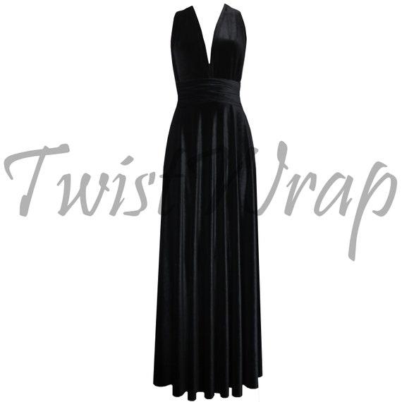 Formelle Kleidung schwarzem Samt Kleid Infinity Brautjungfer Kleid lang  Cabrio Kleid Umstandskleid Plus Size Prom Kleid