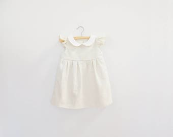 Off White Baby Dress, White Dress, Baby Girls Dress, Girl Toddler Dress, White Baby Dress, Baby Easter Dress Flutter Sleeve Peter Pan Collar