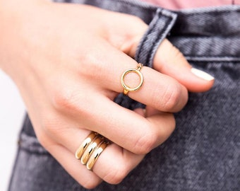 Open Circle Ring, Rose Gold Plated Ring, Dainty Ring, Wide Gold Ring, Geometric Ring, Boho Ring, Fashion Ring, Stylish Ring, Everyday Ring