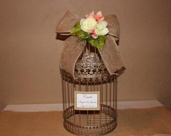 Wedding Birdcage Cardholder / Champagne Wedding Birdcage / Wedding Cardholder