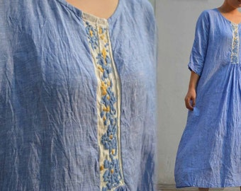 496--- Blue Yarn Dyed Linen Dress, with Hand Embroidery, Made to Order.