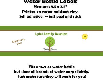24 Personalized Water Bottle Labels - Family Reunion - Summer Party