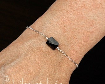 Black rectangular Swarovski crystal bracelet, sterling silver 925