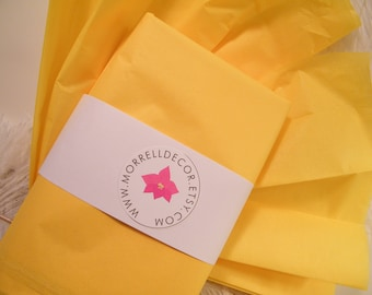 "Yellow Tissue Paper  Citrus Yellow 24 Sheets of 20"" X 30"" DIY Wedding Decor  Gift Wrap Idea  Favor Box Packaging - DIY Pom Pom Supplies"