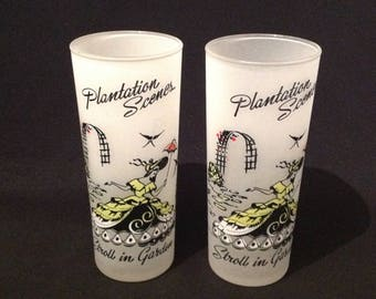 Set of 2 Vintage Libbey Plantation Scenes Stroll In The Garden Iced Tea Glasses  Summer Southern Belles Sweet Tea Frosted Cypress Gardens
