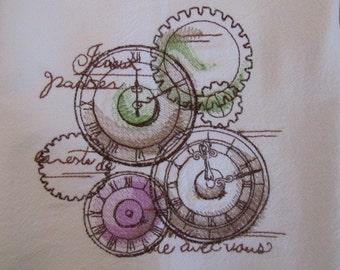 Parisian Clockwork - Kitchen Flour Sack Towel - Gourmet - Natural Cotton