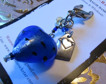 WEDDING SERIES - Blue Heart & Love Letter -  Zipper Pulls or Key Ring or Rear view Mirror Charm