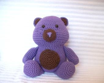 Crochet Teddy Bear Stuffed Animal in Purple and Brown, Crochet Animal, Purple Nursery Decor, Teddy Bear Plush, Purple Teddy Bear