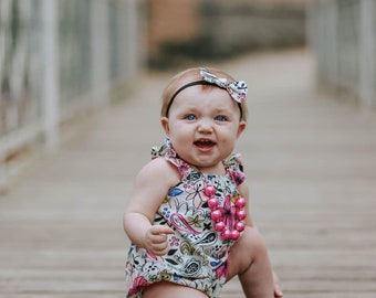 Baby Girl Romper, Bubble Romper, Toddler Romper, Floral Romper, Beach Romper, Summer Romper, Sunsuit, Baby Girl Gift, Flutter Sleeve