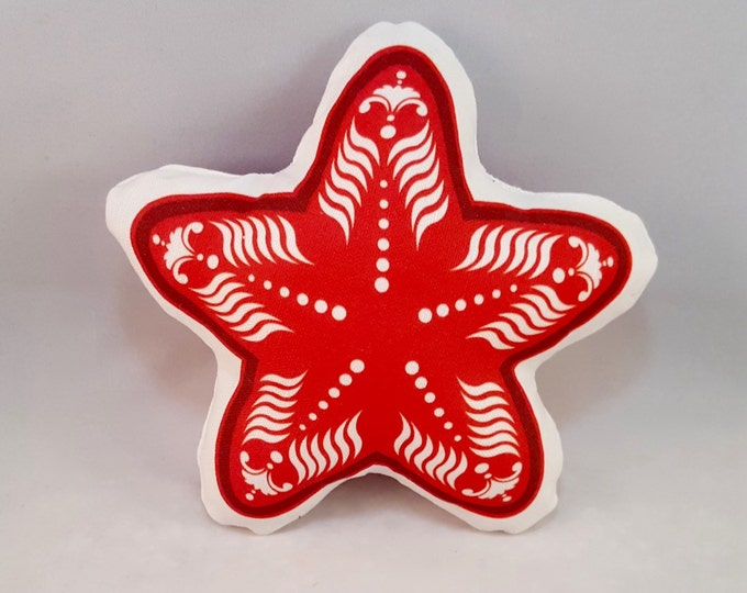 Plush Red Starfish- Baby Rattle