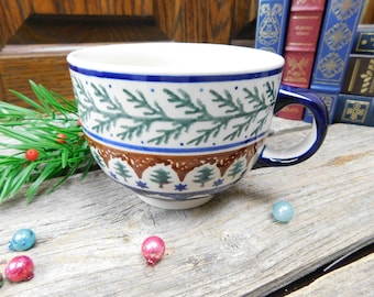 Vintage Polish Pottery Christmas Winter Evergreen Large Cup - Boleslawiec