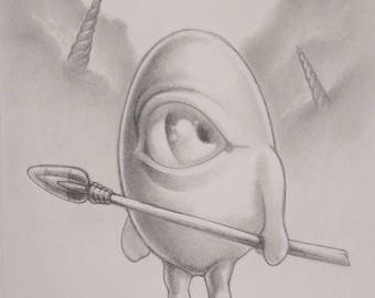 The Peaceful Eggman print by Angel Hawari, Denizens of Candyland, pop surreal