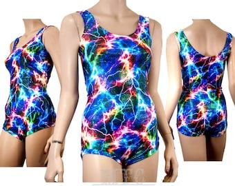 Holograhic bodysuit glitter playsuit rave outfit neon lightning yoga leotard photoshoot Adult Medium 8-10 MTcoffinz  - Ready to Ship