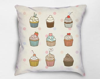 Cupcake Pillow, Cupcake Decor, Food Pillow, Kids Pillow, Cupcake Lover, Baked Goods Pillow, Gift for Baker, Sweets Pillow, Dessert Pillow
