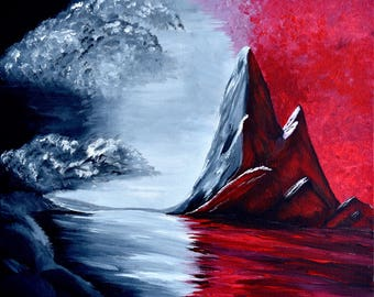 Red Oblivion Acrylic Painting