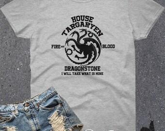 House Targaryen GOT Fire And Blood Family Sigil Crest Daenerys Inspired  Adults Women's Top Tee T