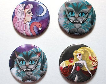 Large Fridge Magnet - Alice in Wonderland Inspired Original Artwork Pastel Goth Cheshire Cat Queen of Hearts Flamingo Purple Blue Galaxy UK