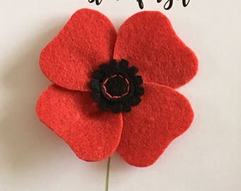 Rememberance Poppy Pin Brooch